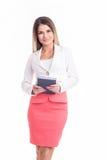 Schöne starke und erfolgreiche Geschäftsfrau, die Sie betrachtet Stockfoto