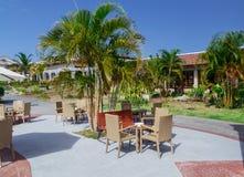 Schöne stilvolle herrliche Caféstange im Freien nahe tropischem Garten gegen schönen blauen Himmel Stockfotografie