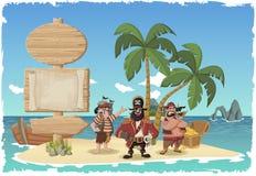 Schöne Tropeninsel mit Karikaturpiraten Stockbilder