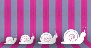 Schnecke auf Pastellwand Stockfoto