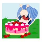 Schnecke und der Kuchen Stockbild