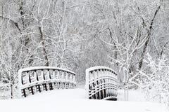 Schneeüberdachte brücke und -gehweg Stockfoto