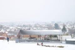 Schnee über Barry in Wales Stockfotos