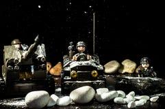 Schnee über Lego Stockbild