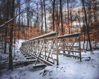 Schnee-überdachte Brücke lizenzfreie stockfotografie