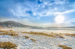 Schnee in Aso-Berg stockfotos