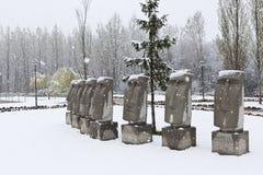 Schnee auf dem moai Stockbilder