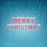 Schnee auf den Buchstabe-frohen Weihnachten Stockfotografie