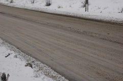 Schnee auf der Straße in der Stadt Lizenzfreies Stockbild