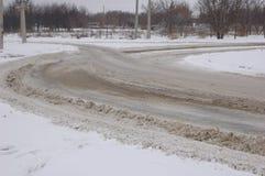 Schnee auf der Straße in der Stadt Lizenzfreie Stockfotografie