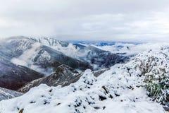 Schnee auf die Gebirgsoberseite im Winter lizenzfreie stockfotos
