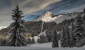 Schnee auf die Oberseite eines Berges Stockfotografie