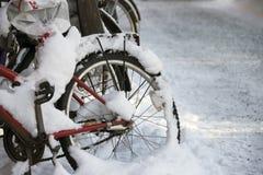 Schnee auf einem Fahrrad Lizenzfreie Stockfotos