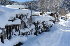 Schnee auf geflochter Wand Lizenzfreie Stockfotos