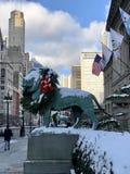Schnee auf gewundenem Art Institute Lions lizenzfreies stockbild