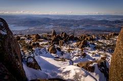 Schnee auf Mt Wellington, Tasmanien, Australien lizenzfreies stockbild