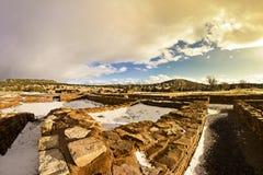 Schnee auf Ruinen des amerikanischen Ureinwohners von Abo Lizenzfreie Stockfotos