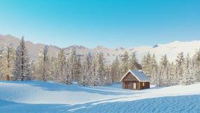 Schnee bedeckte alleine Berghütte am Wintertag stock video footage