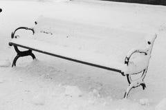 Schnee bedeckte Bank lizenzfreies stockbild