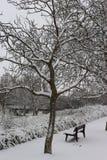 Schnee bedeckte Bank in einem Park in Karlsruhe, Deutschland stockfotos