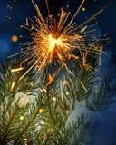 Schnee bedeckte Baum und Wunderkerze Lizenzfreies Stockbild