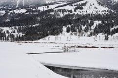 Schnee bedeckte Berge, Bäume und Fluss Stockbilder
