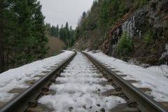 Schnee bedeckte die Eisenbahnlinie, die zu Mossbrae-Fälle in Dunsmuir, Kalifornien führt Lizenzfreies Stockfoto