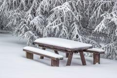Schnee bedeckte die Picknickbank, die mit Tabelle 2 eingestellt wurde Lizenzfreie Stockbilder