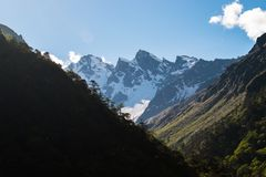 Schnee bedeckte Himalayanmountainrange gegen klaren Himmel lizenzfreie stockfotografie