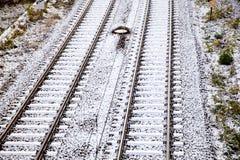 Schnee bedeckte Schienen Lizenzfreie Stockbilder