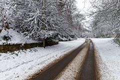 Schnee bedeckte Straße durch Stockbilder