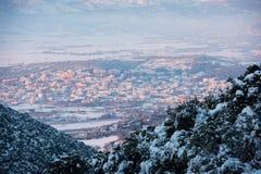 Schnee bedeckte Tal Stockfoto