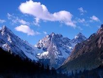 Schnee-Berg. Blauer Himmel und der Wald Lizenzfreies Stockbild