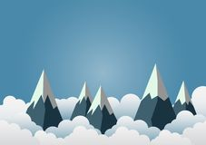 Schnee-Berg mit schönen Wolken Papierkunst vactor illustrati stock abbildung