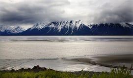 Schnee-BergSeward Datenbahn Anchorage Alaska lizenzfreie stockfotos