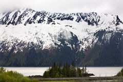 Schnee-BergSeward Datenbahn Anchorage Alaska lizenzfreies stockbild
