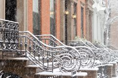 Schnee in Brooklyn Stockbild