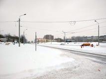 Schnee in Bucharest lizenzfreie stockfotos