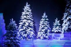 Schnee deckte Bäume ab Stockbilder