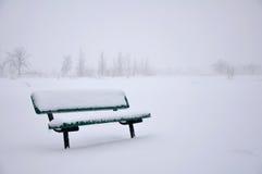 Schnee deckte Bank ab Lizenzfreie Stockfotos