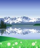 Schnee deckte Berge ab vektor abbildung