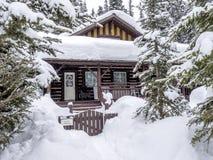 Schnee deckte Kabine ab Stockfoto