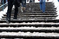 Schnee deckte Treppen ab Stockfotos