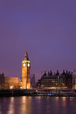 Schnee deckte Westminster nachts ab lizenzfreies stockfoto