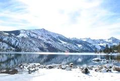 Schnee in den Doppelseen Stockfotografie