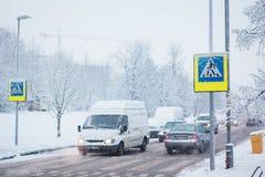 Schnee in den Straßen von Vilnius Lizenzfreies Stockbild