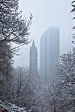 Schnee, der über Bäume und Gebäude fällt stockbilder