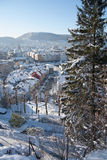 Schnee in der Bergen-Stadt Lizenzfreies Stockbild