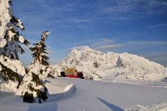 Schnee, der am Huntoon Punkt kampiert Stockbild