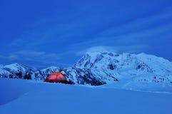 Schnee, der am Huntoon Punkt kampiert Stockfotos